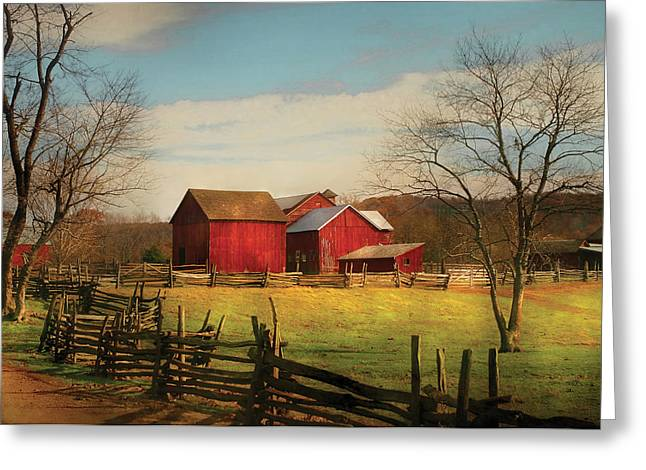 Red Roofed Barn Greeting Cards - Farm - Barn - Just up the path Greeting Card by Mike Savad