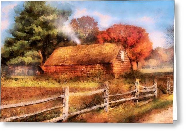 Hunting Cabin Digital Art Greeting Cards - Farm - Barn - Our Cabin Greeting Card by Mike Savad