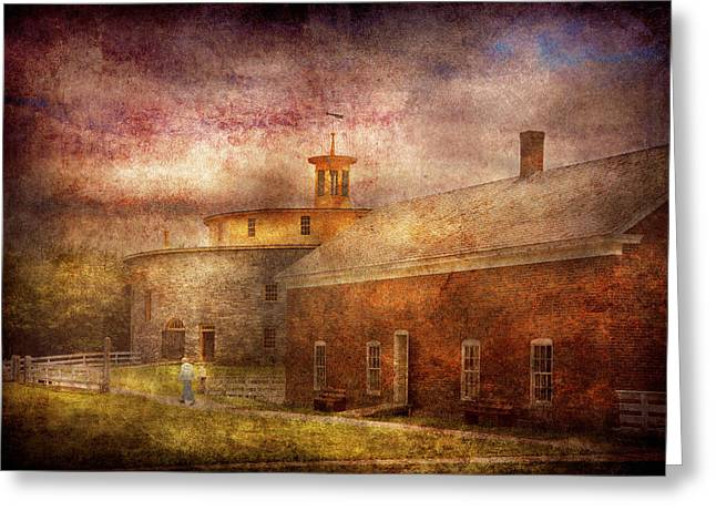 Farm - Barn - Shaker Barn  Greeting Card by Mike Savad