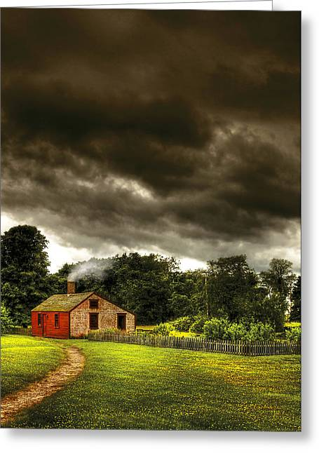 Stormy Weather Greeting Cards - Farm - Barn - Storms a comin Greeting Card by Mike Savad
