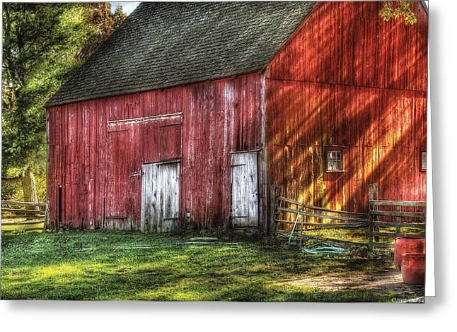 Red Roofed Barn Greeting Cards - Farm - Barn - The old red barn Greeting Card by Mike Savad