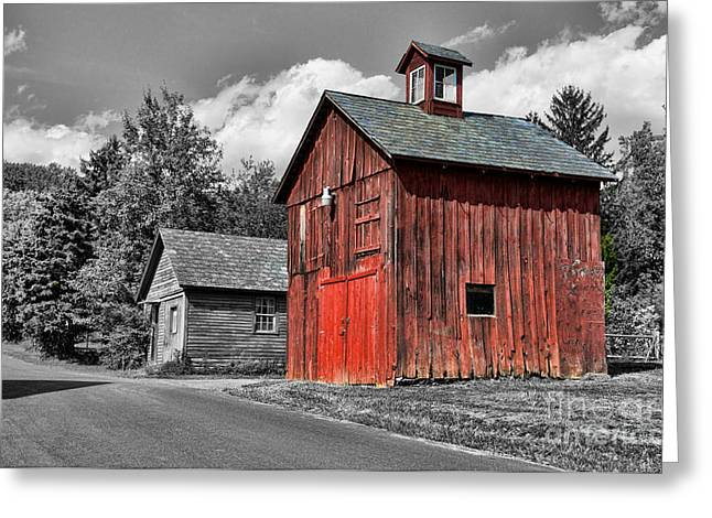Quite Photographs Greeting Cards - Farm - Barn - Weathered Red Barn Greeting Card by Paul Ward
