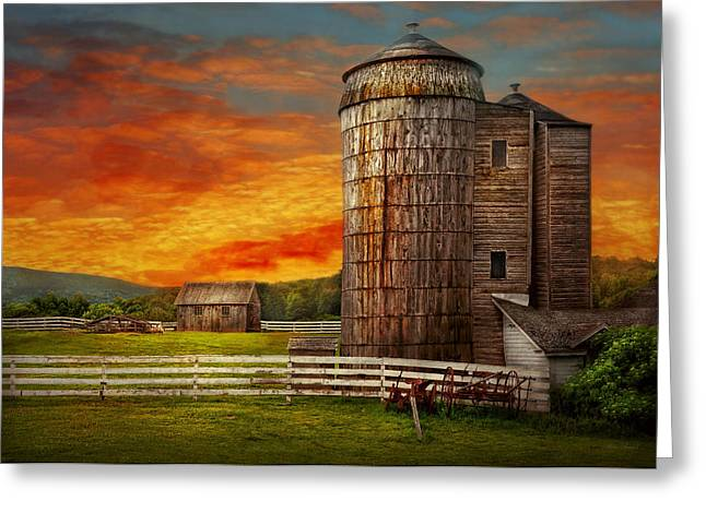 Farm - Barn - Welcome to the farm  Greeting Card by Mike Savad