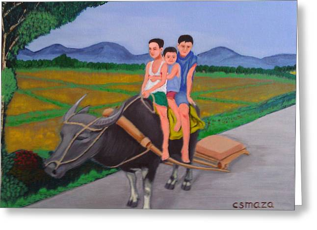 People Paintings Greeting Cards - Farm Boys Greeting Card by Cyril Maza