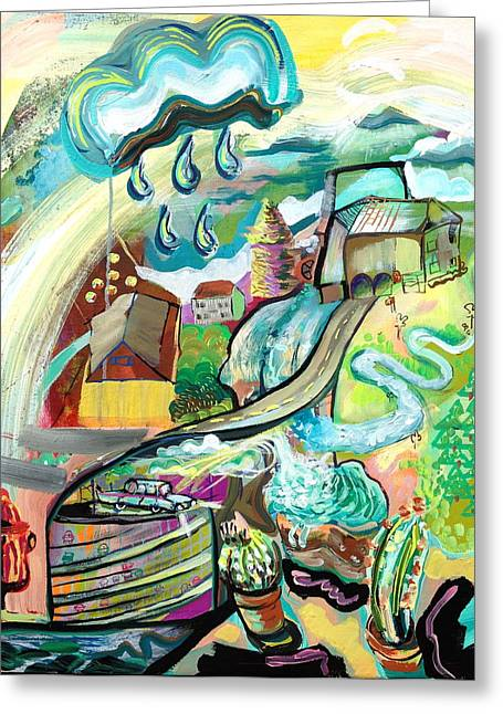 Abstract Rain Greeting Cards - Farm Greeting Card by Britt Kuechenmeister