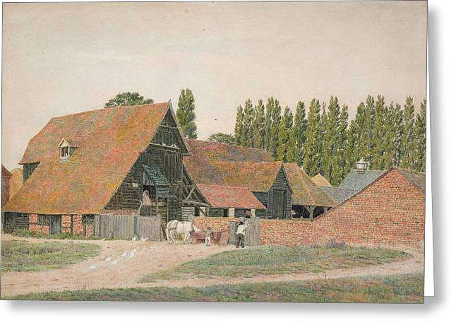 Vernacular Architecture Greeting Cards - Farm Buildings, Dorchester, Oxfordshire Greeting Card by George Price Boyce