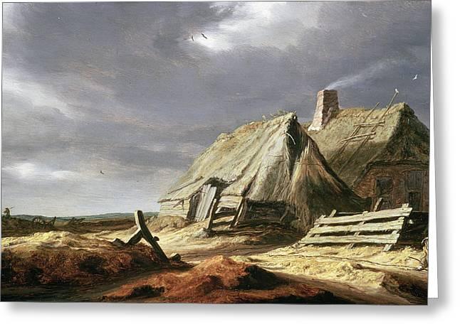 Overcast Greeting Cards - Farm Buildings In A Landscape, C.1625-28 Greeting Card by Salomon van Ruisdael or Ruysdael