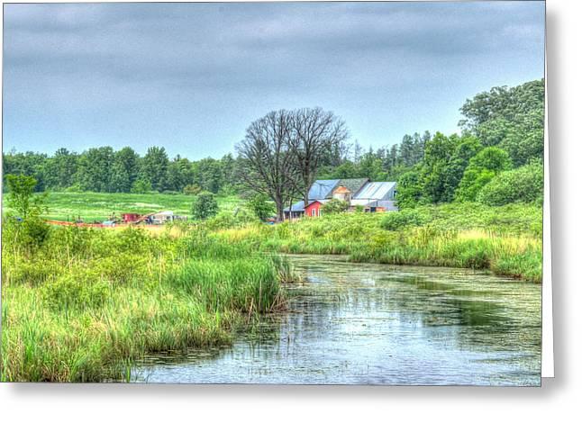 Lush Green Greeting Cards - Farm By Creek Greeting Card by Paul Freidlund