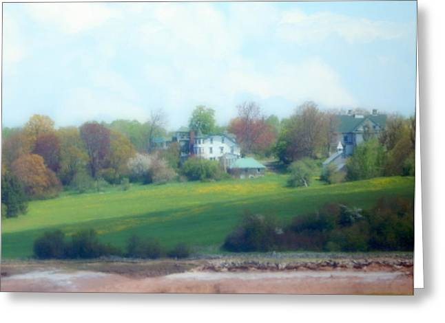 Minas Basin Greeting Cards - Farm by the River Greeting Card by Karen Cook