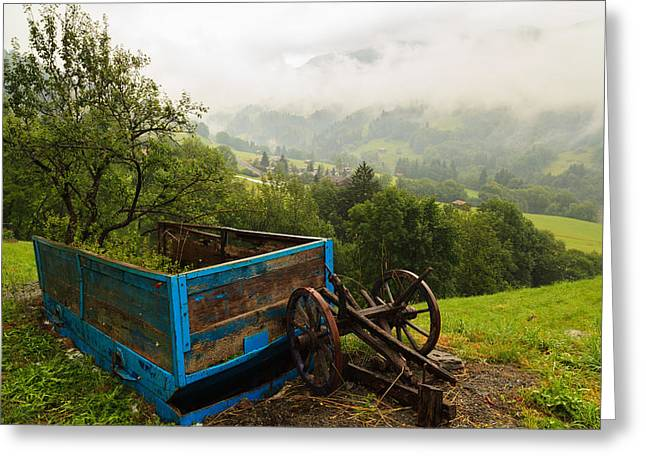 Graubunden Greeting Cards - Farm Carriage Greeting Card by Raul Rodriguez