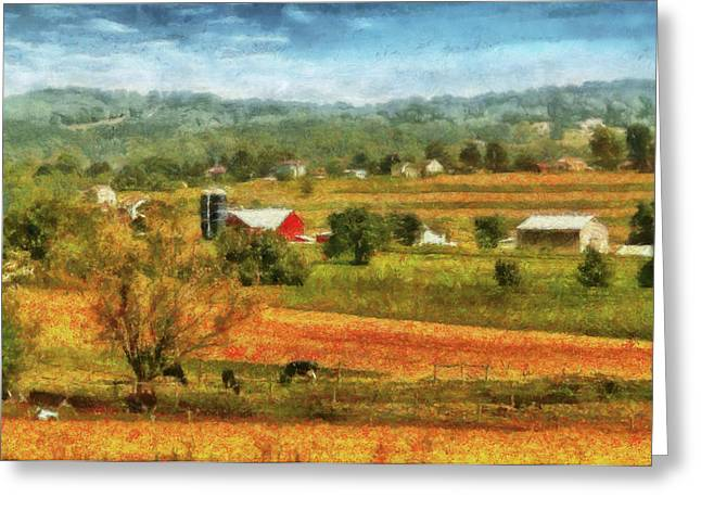 Farm - Cow - Cows Grazing Greeting Card by Mike Savad