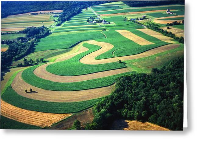 Contour Plowing Greeting Cards - Farm designs Pennsylvania aerial Greeting Card by Blair Seitz