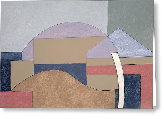 Abstract Shapes Greeting Cards - Farm End, 2002 Oil On Board Greeting Card by George Dannatt