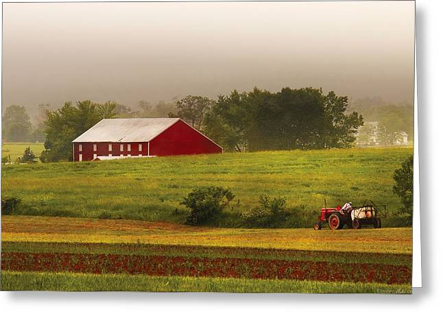 Farm - Farmer - Tilling the fields Greeting Card by Mike Savad