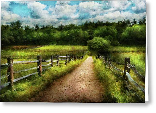 Farmers Field Greeting Cards - Farm - Fence - Every journey starts with a path  Greeting Card by Mike Savad