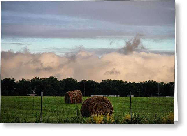 Hay Bales Greeting Cards - Farm Field Drama Greeting Card by Dan Sproul
