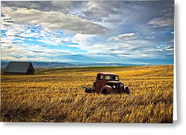 Old Barns Greeting Cards - Farm Field Pickup Greeting Card by Steve McKinzie