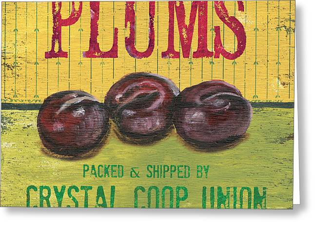 Plum Greeting Cards - Farm Fresh Fruit 4 Greeting Card by Debbie DeWitt