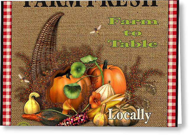 Locally Grown Digital Art Greeting Cards - Farm Fresh-JP2384 Greeting Card by Jean Plout