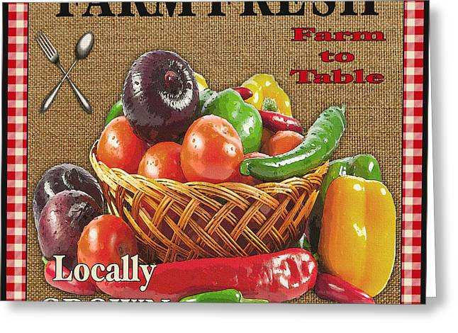 Locally Grown Digital Art Greeting Cards - Farm Fresh-JP2385 Greeting Card by Jean Plout