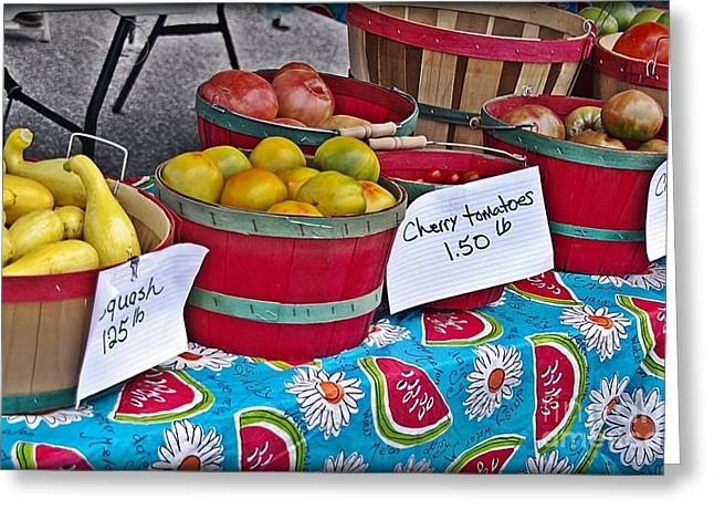 Locally Grown Greeting Cards - Farm Fresh Produce at the Farmers Market Greeting Card by JW Hanley