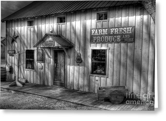 Rural Indiana Greeting Cards - Farm Fresh Produce bw Greeting Card by Mel Steinhauer