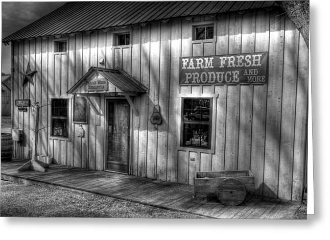 Southern Indiana Greeting Cards - Farm Fresh Produce BW Greeting Card by Tri State Art