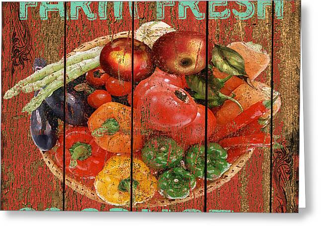 Produce Mixed Media Greeting Cards - Farm Fresh Produce Greeting Card by Jean PLout
