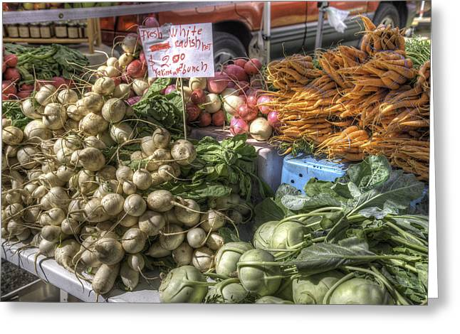 Street Fairs Greeting Cards - Farm Fresh Vegetables Greeting Card by Spencer McDonald