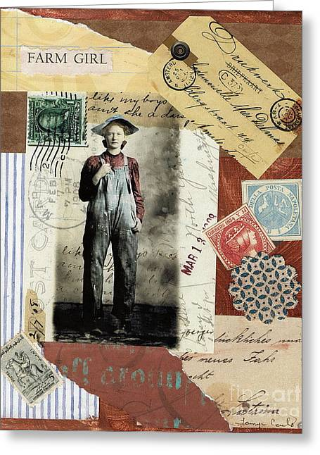 Levi Mixed Media Greeting Cards - Farm Girl Greeting Card by Tamyra Crossley