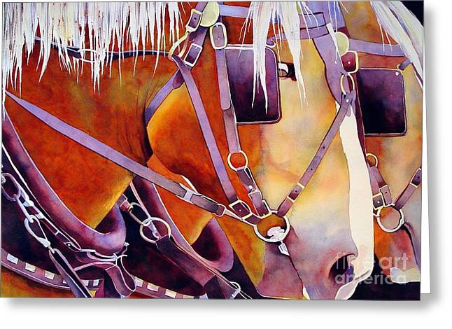 Farm Horse Greeting Cards - Farm Horses Greeting Card by Robert Hooper