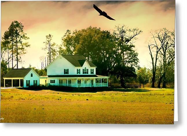 Farmers Field Greeting Cards - Farm House Greeting Card by Debra Forand