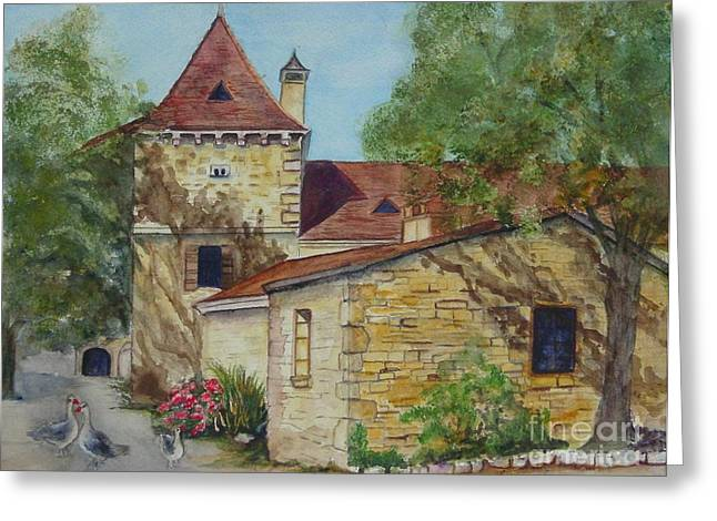 Languedoc Paintings Greeting Cards - Farm House in Beynac France Greeting Card by Sobeida Salomon