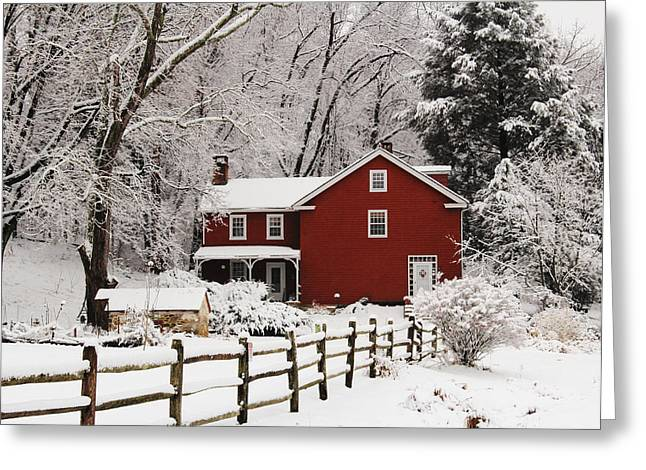 Farm House In Freshly Fallen Snow Greeting Card by Stephen Hobbs