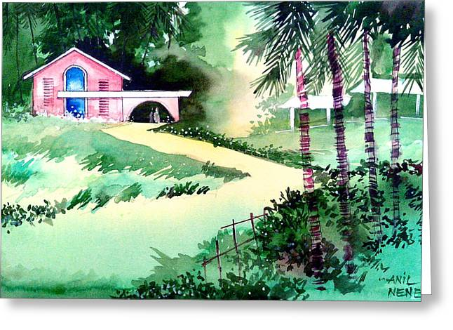 Fog Mist Drawings Greeting Cards - Farm House New Greeting Card by Anil Nene