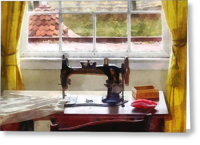 Susan Savad Greeting Cards - Farm House With Sewing Machine Greeting Card by Susan Savad