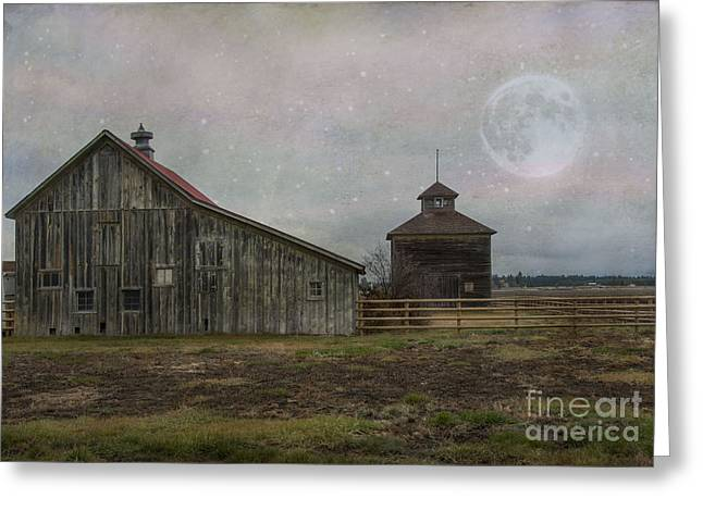 Wooden Structures Greeting Cards - Farm in Kalispell Montana Greeting Card by Juli Scalzi