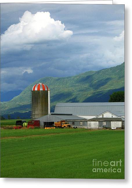 Ann Horn Greeting Cards - Farm in the Valley Greeting Card by Ann Horn