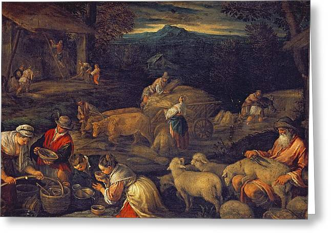 Drinking Water Greeting Cards - Farm Interior Or Shearing Sheep Oil On Canvas Greeting Card by Jacopo Bassano