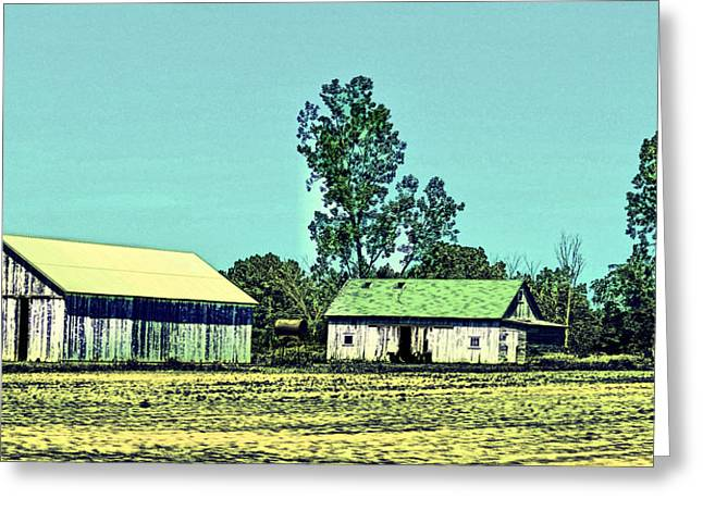 Bucolic Scenes Digital Art Greeting Cards - Farm Journal - Sheds Greeting Card by Paulette B Wright