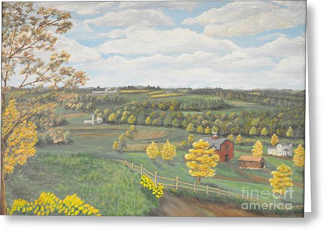 Finger Lakes Paintings Greeting Cards - Farm Lands of the Finger Lakes in Upstate NY Greeting Card by Carolyn Freligh