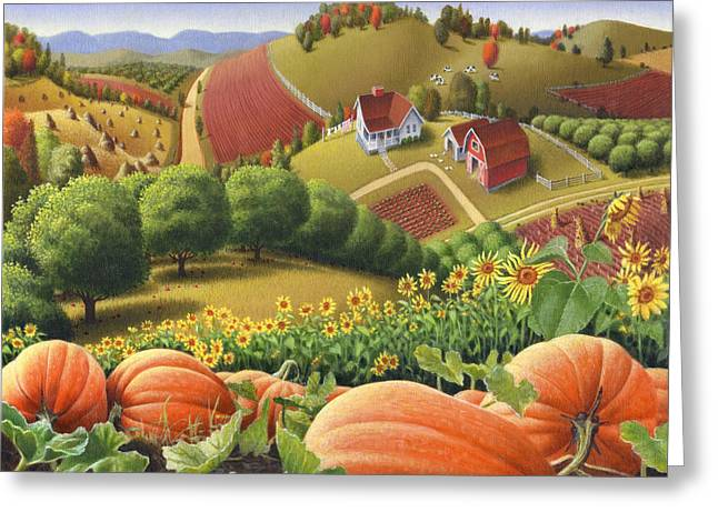 Orange Pumpkin Greeting Cards - Farm Landscape - Autumn Rural Country Pumpkins Folk Art - Appalachian Americana - Fall Pumpkin Patch Greeting Card by Walt Curlee