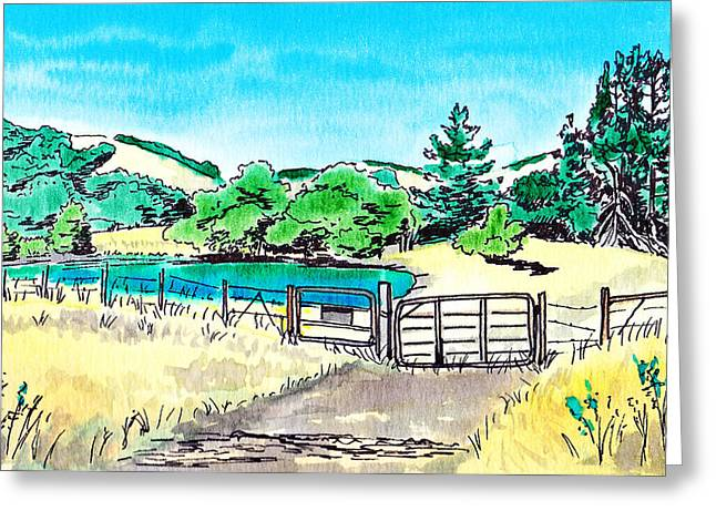 Green Day Paintings Greeting Cards - Farm Landscape Greeting Card by Masha Batkova