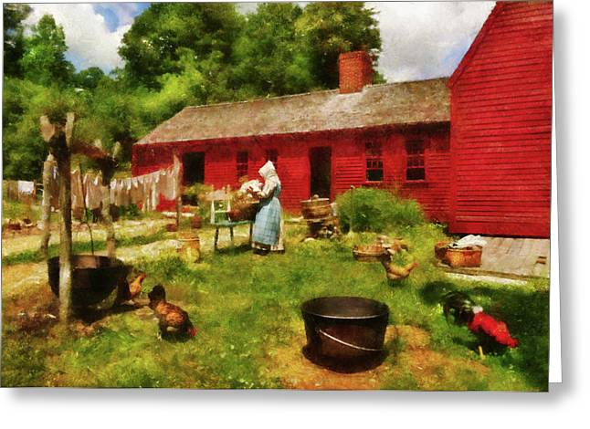 Suburbanscenes Greeting Cards - Farm - Laundry - Old School Laundry Greeting Card by Mike Savad