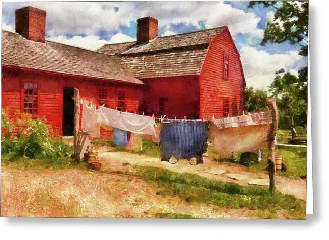 Customizable Greeting Cards - Farm - Laundry - The Clothes Line Greeting Card by Mike Savad