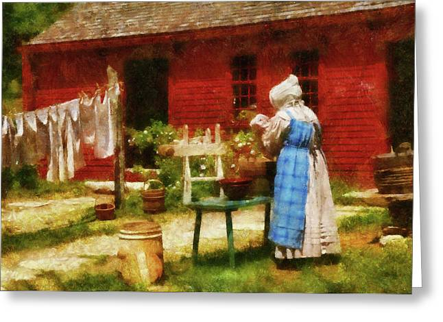 Customizable Greeting Cards - Farm - Laundry - Washing Clothes Greeting Card by Mike Savad