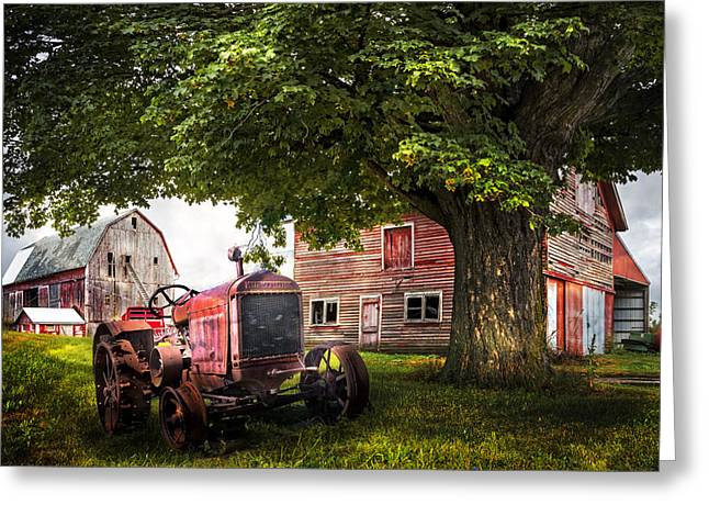 Red Roofed Barn Greeting Cards - Farm Life Greeting Card by Debra and Dave Vanderlaan