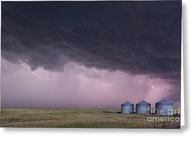 Wheat Field Sky Pictures Greeting Cards - Farm lightning in Colorado  Greeting Card by Jeremy Holmes