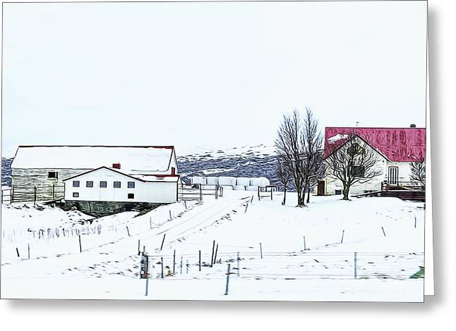 Field. Cloud Greeting Cards - Farm House and Barm Greeting Card by Maria Coulson