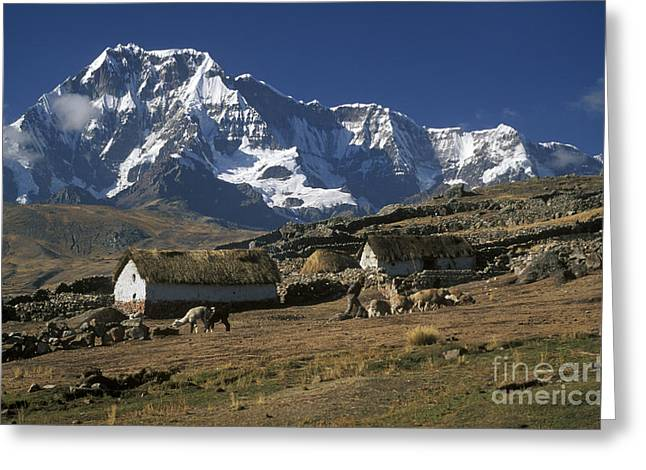 Eco-village Greeting Cards - Farm Near Ausangate Peru Greeting Card by Craig Lovell
